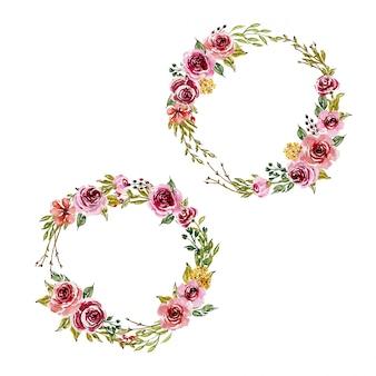 甘いピンクの水彩アレンジメントと花の花輪