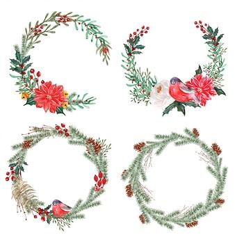 水彩冬花の花輪のセット