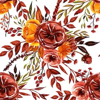 水彩のオレンジ、茶色、黄色の秋花柄シームレス