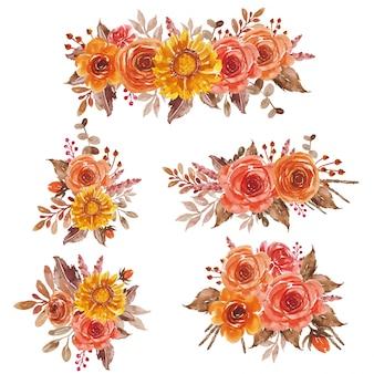 結婚式の招待状およびグリーティングカードのための水彩画の花の赤オレンジ黄色の花束の整理