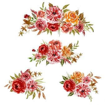 花の赤オレンジフレーム配置の水彩セット