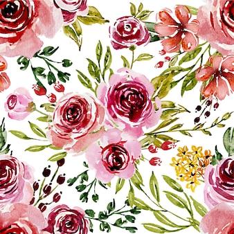 シームレスパターン甘いピンクの水彩花
