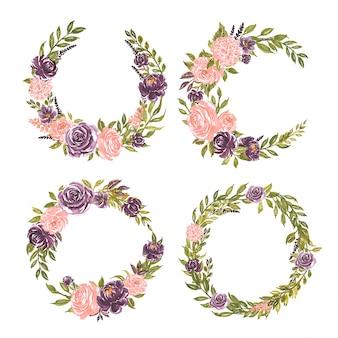 水彩花のセット手描きのフローラルリースイラストピンクのバラと紫の花の花束