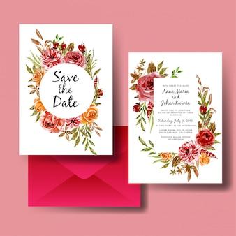 結婚式の招待カードテンプレートセット水彩花赤とオレンジ