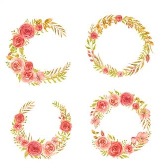 水彩花の花輪のセットローズレッド