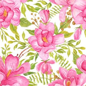 シームレスパターン水彩花マグノリアピンクと緑の葉