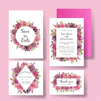 美しい花のピンクと紫の水彩フレーム結婚式招待状カードのテンプレート
