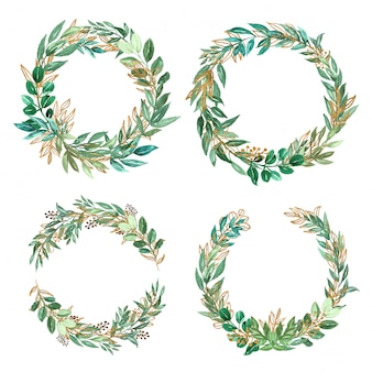 Красивый зелени и золотой акварельный набор из листьев венка