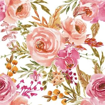 花桃とテキスタイルや背景のピンクの水彩画のシームレスパターン