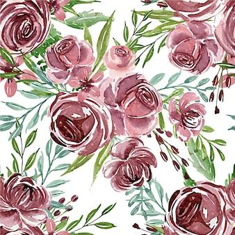 Безшовная картина акварели цветка фиолетовой для ткани или предпосылки