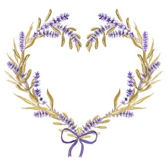 リボン水彩画とラベンダーの花の心