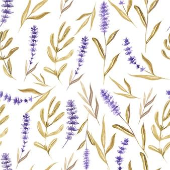 水彩花ラベンダーと葉のシームレスパターン