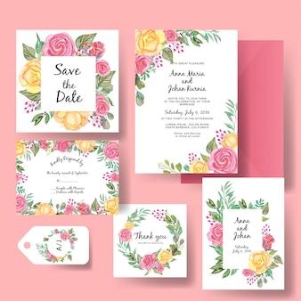 ローズピンクと黄色の水彩画の結婚式の招待状のテンプレート