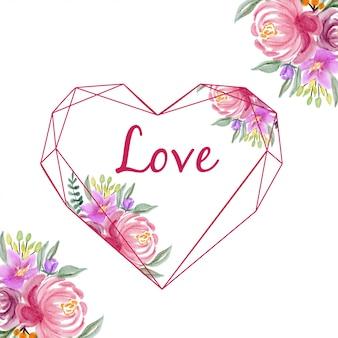 水彩花の形の幾何学的な愛