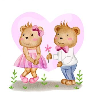 クマのカップルは花でバレンタインを祝います...
