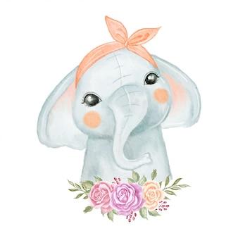 花の花輪の水彩イラストがかわいい象の赤ちゃん