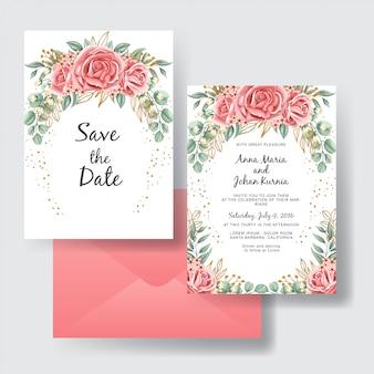 バラ桃ピンクの美しさの結婚式招待状セット
