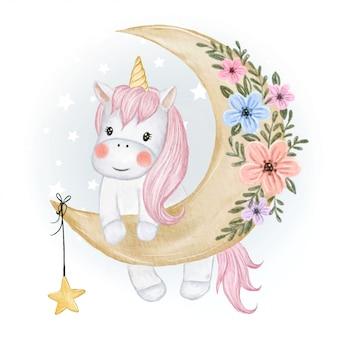 Симпатичные единорог с луной и звездами акварельные иллюстрации