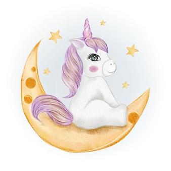 月の水彩イラストに座っているかわいい赤ちゃんユニコーン