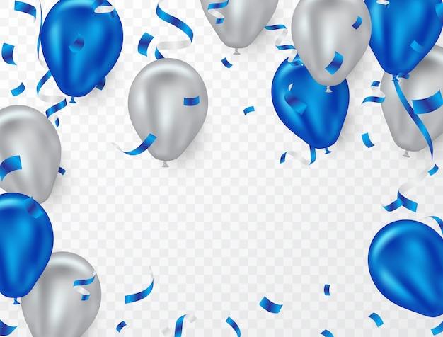 パーティーのための青と白のヘリウムバルーン背景