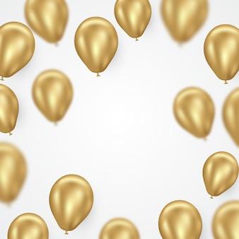黄金のヘリウム風船のベクトルの背景