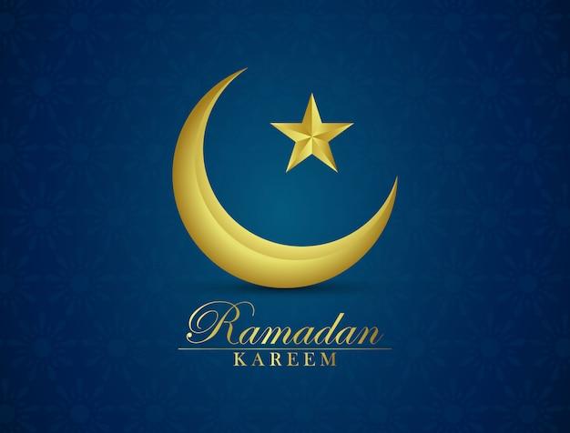 ラマダンの背景は金色の三日月でデザインされています。