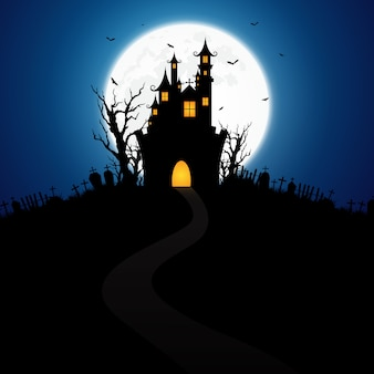 城で飾られたハロウィーンの背景