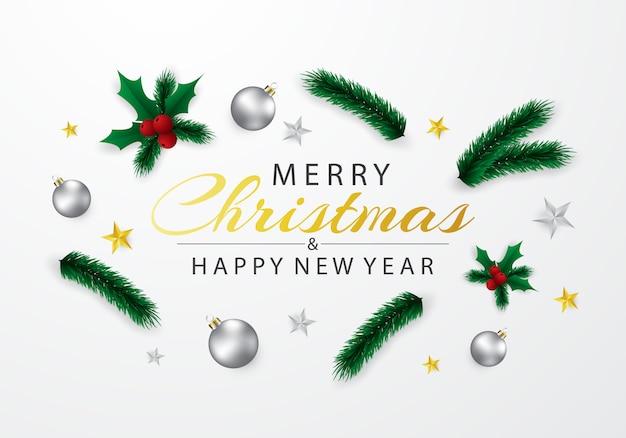 銀のボールのイラストで飾られたクリスマスカード