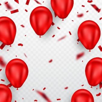赤い風船と紙吹雪