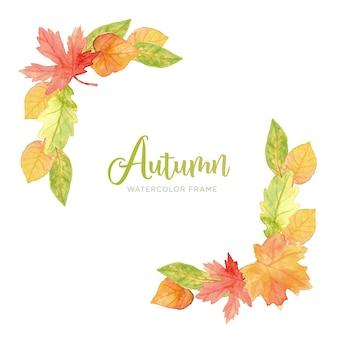 Рамка осенних листьев акварелью