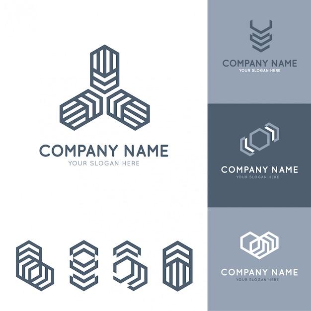 Коллекция абстрактных и современных серых логотипов с геометрическими фигурами