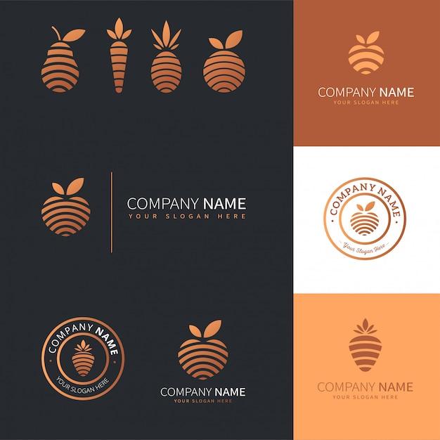 Коллекция современных логотипов золотых фруктов и овощей