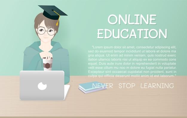 Шаблон для рекламы в мультяшном дизайне для онлайн-обучения