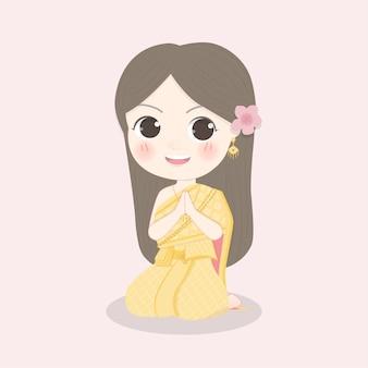 タイのドレスでタイの女の子