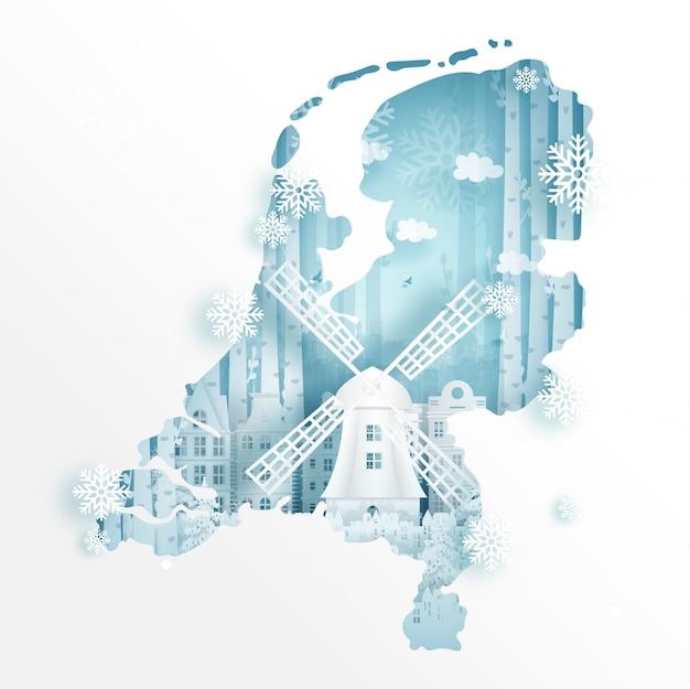 旅行やツアーの広告の概念のためのアムステルダムの冬