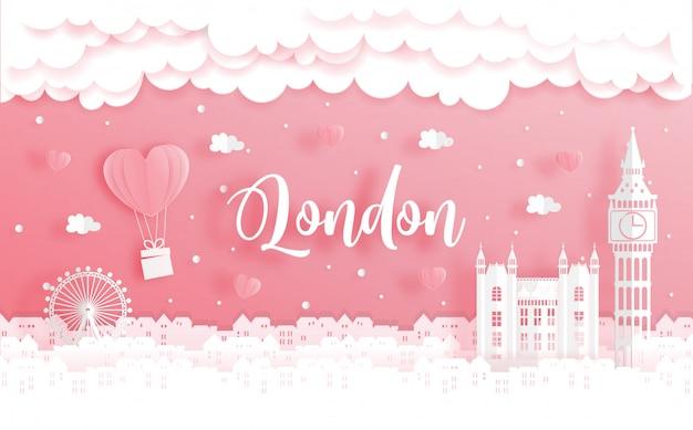 Концепция свадебного путешествия и дня святого валентина с поездкой в лондон, англия