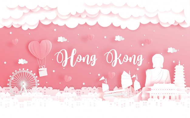 新婚旅行と香港、中国への旅行とバレンタインデーのコンセプト