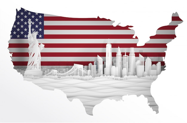 Панорамный вид на горизонт нью-йорка, соединенных штатов америки