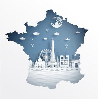 Концепция карты парижа с известной достопримечательностью для туристической открытки и плаката