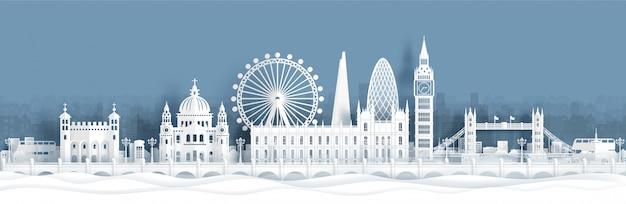ロンドン、イギリスの世界的に有名なランドマークのパノラマのポストカードと旅行のポスター