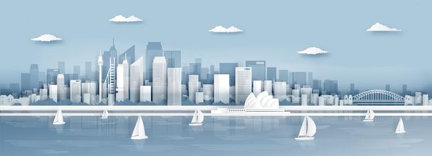 シドニー、オーストラリアの街のスカイラインと世界的に有名なランドマークのパノラマビュー