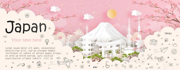 Туристическая и туристическая реклама и достопримечательность японии