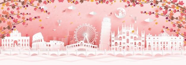 Осень с падающими кленовыми листьями и достопримечательностями италии