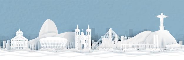 Панорамный вид на горизонт города рио-де-жанейро, бразилия в стиле вырезать бумаги векторные иллюстрации