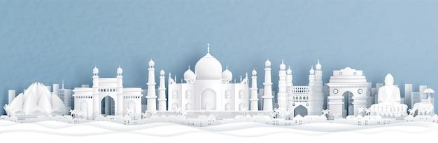 Панорамный вид на индию с тадж-махалом и горизонт со всемирно известными достопримечательностями