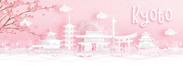 京都、日本の世界的に有名なランドマークの旅行はがき、ツアー広告