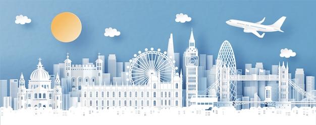世界の有名なランドマークとロンドン、イングランド、街のスカイラインのパノラマビュー