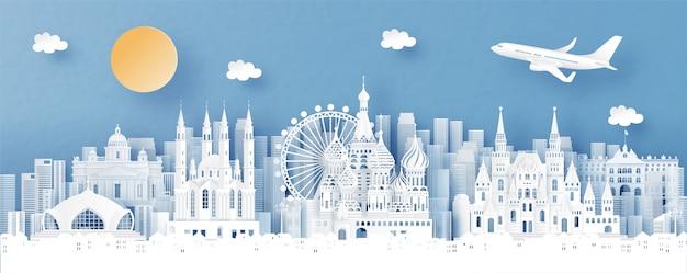 Панорамный вид россии и городской пейзаж с всемирно известными достопримечательностями