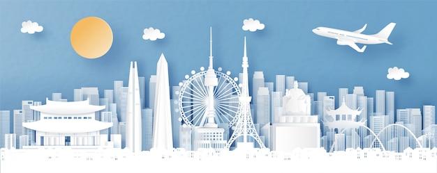 世界の有名なランドマークとソウル、韓国、街のスカイラインのパノラマビュー