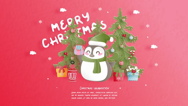 紙のスタイルでクリスマスのお祝い